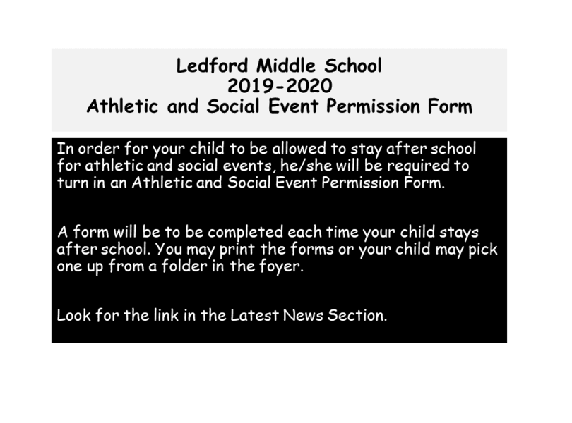 Athletic and Social Events Permission Form