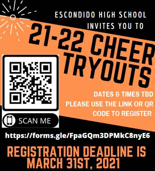 cheer deadline 3/31