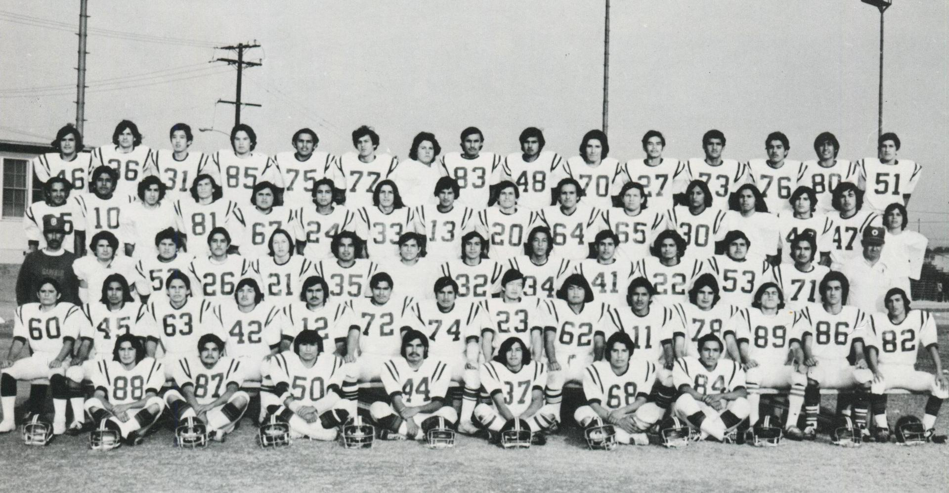 1974 B Football Team with Coach Hastings