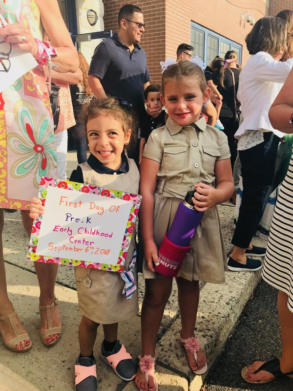first day of preschool girls