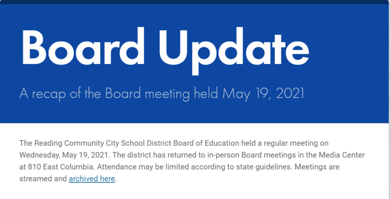 Image of the front page of the Board Update