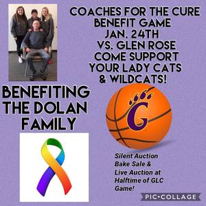 Coaches for the cure benefit game Jan. 24th at Godley...purple picture with orange basketball and g claw