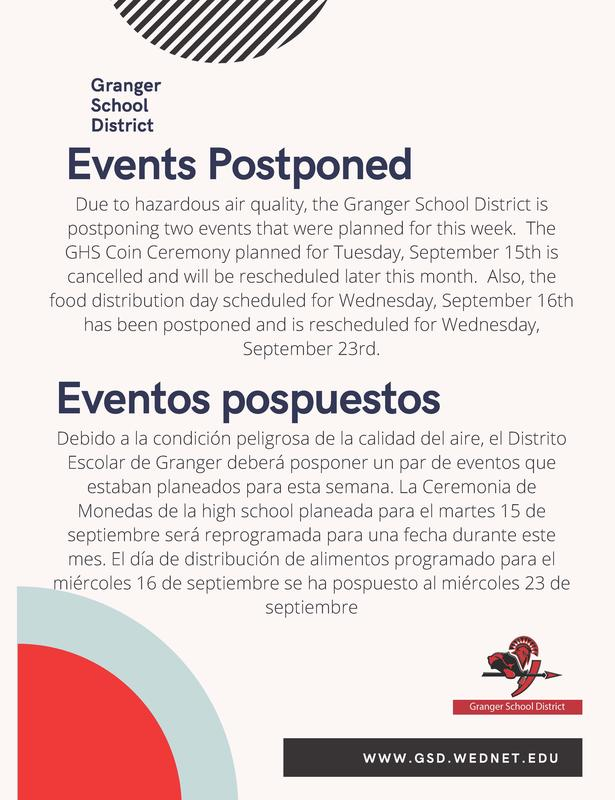 Photo with information on events postponed