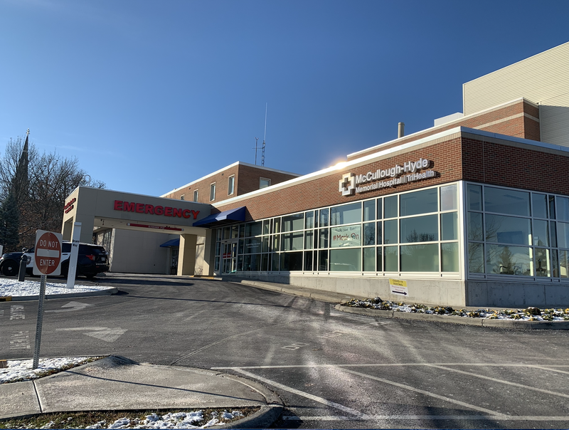 Exterior entrance of hospital emergency room