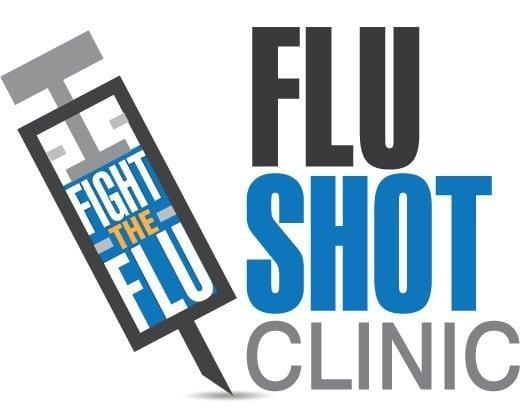 A needle with the blue background with the words in white Fight the Flu.