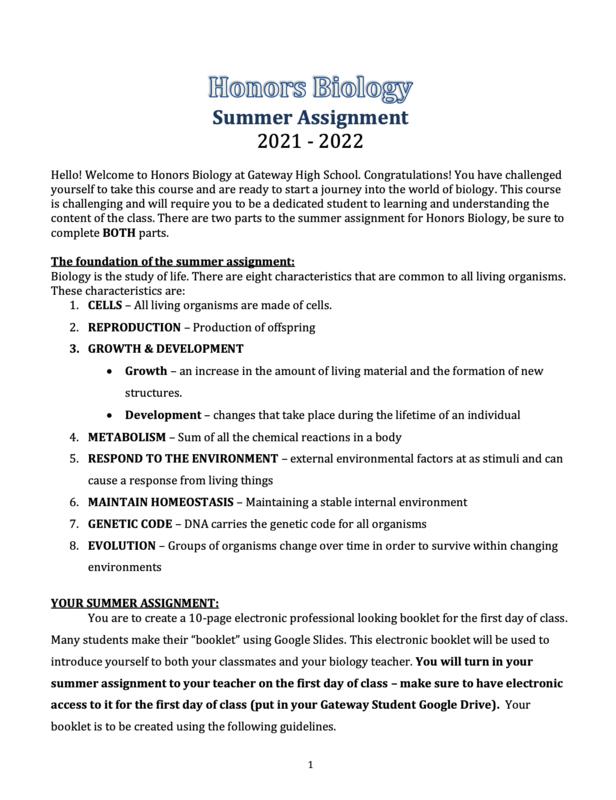 2021 Honors Biology Summer Assignment