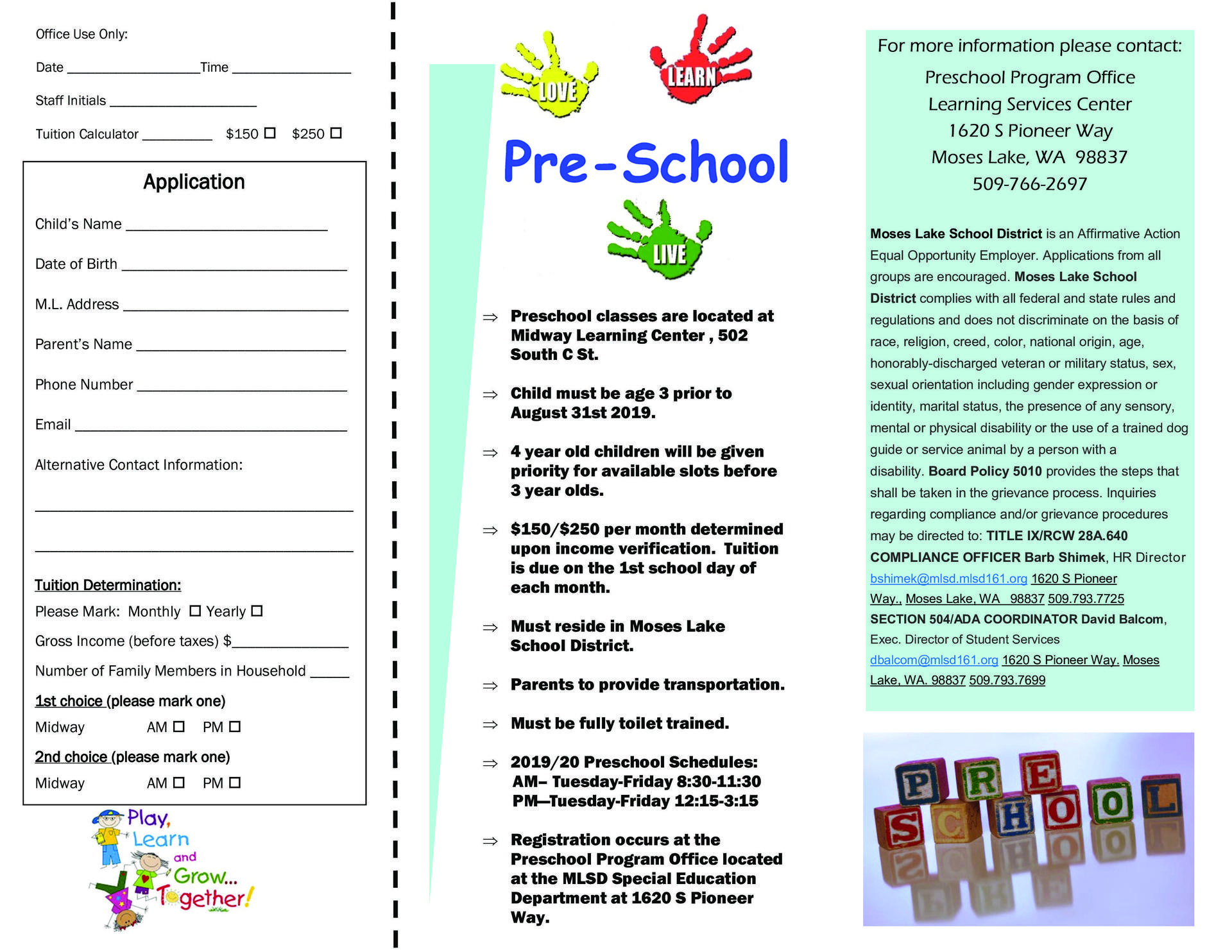 Integrated Preschool Brochure Page 2