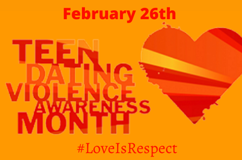 Teen Datimg Violence Month with a heart with yellow, orange and, red diagonal stripes