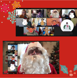 Santa and class on zoom