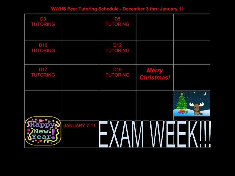 December Peer Tutoring Schedule Thumbnail Image