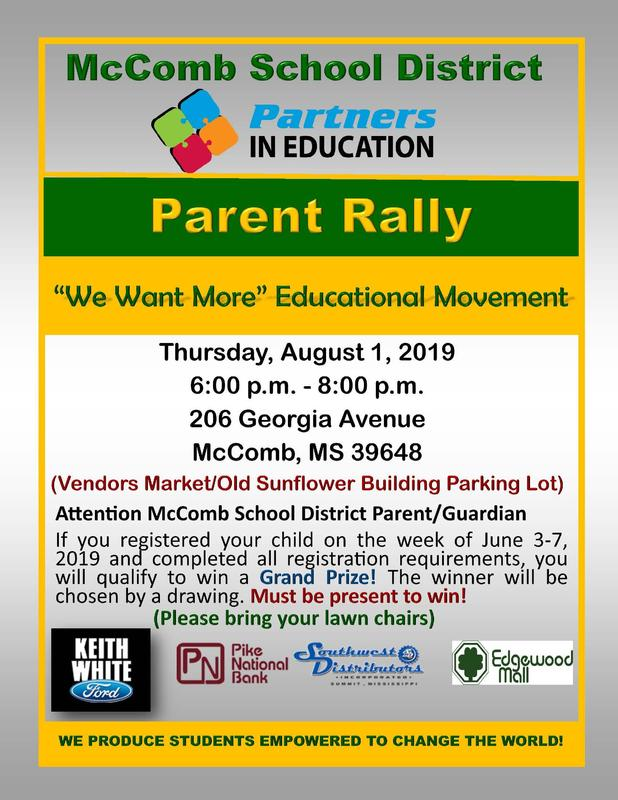 McComb School District Partners In Education (PIE) Parent Rally News #WeWantMore!