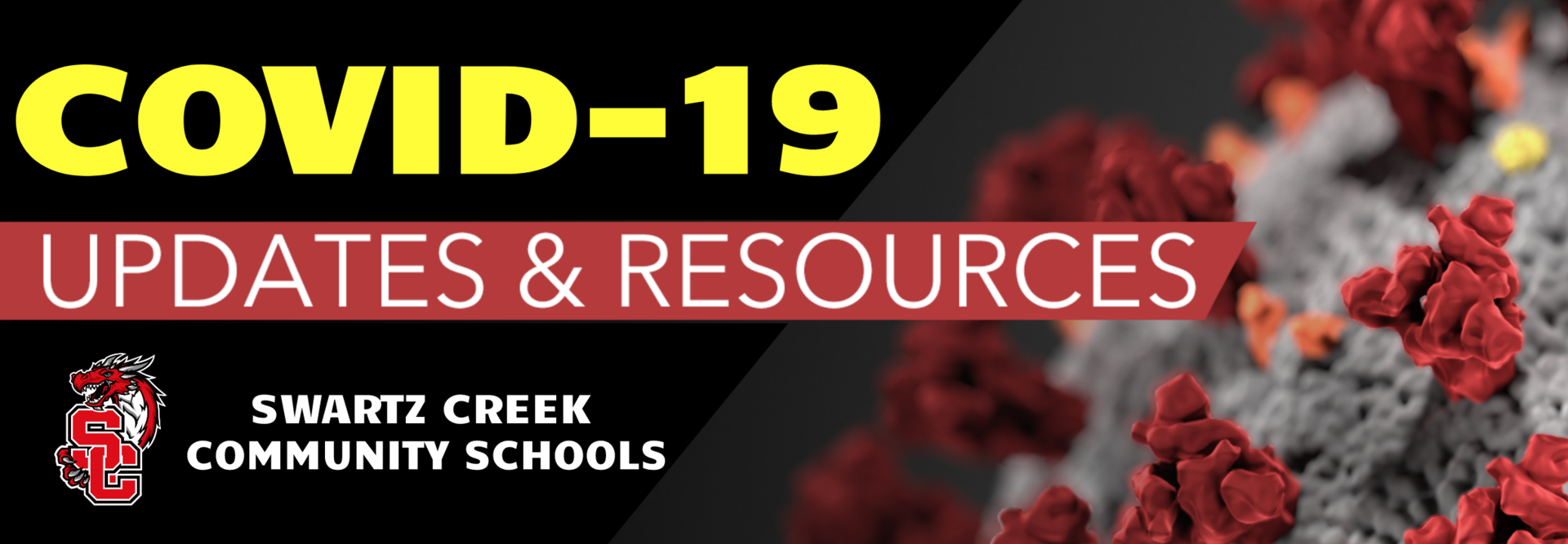 Banner with message: COVID-19 Updates and Resources from Swartz Creek Community Schools