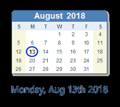 Calendar image with Monday August 13 circled