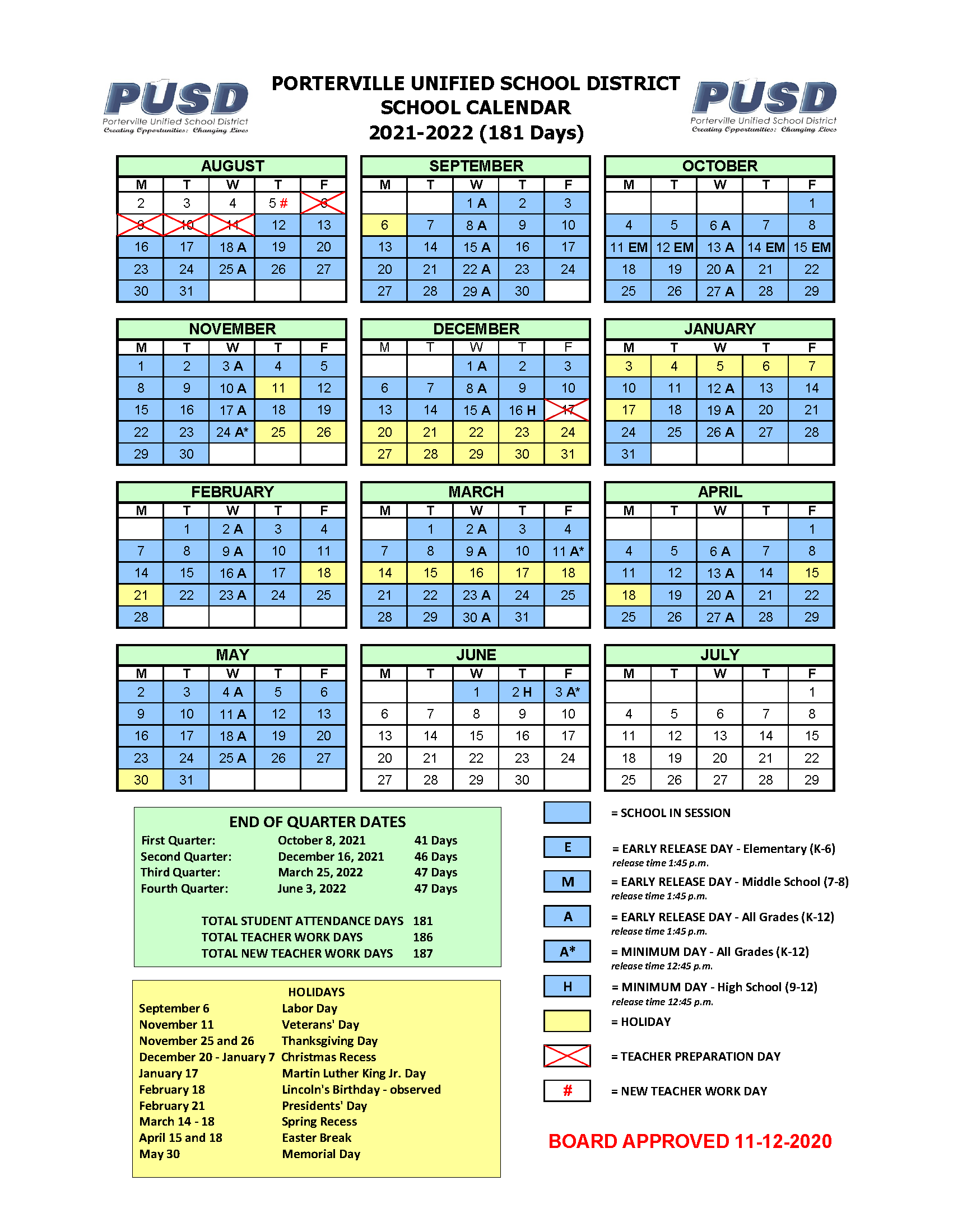 Yearly Calendar – Calendars – Porterville Unified School District