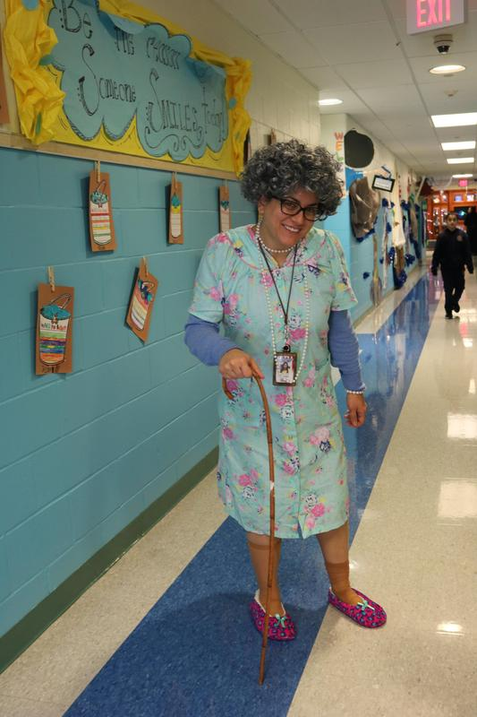 Ms. Syvarth dressed as an 100 year old lady