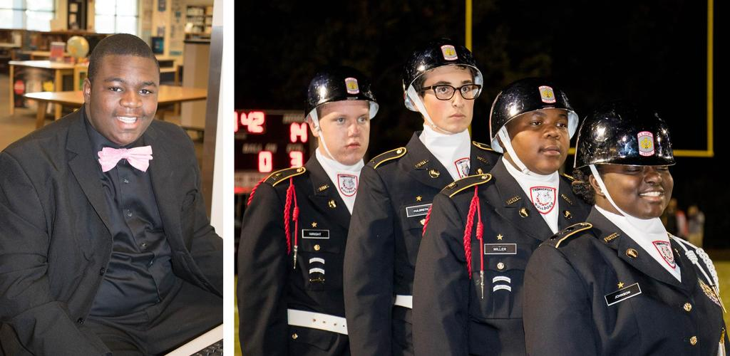 Dressed up student & ROTC Cadets
