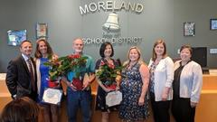 District Board Meeting Honoring Volunteer of the Year - Lisa Lonich, Classified Employee of the Year - Tony Colonna, and Teacher of the Year - Caroline Sienknecht.  Also pictured, Board President - Brian Penzel, Assistant Principal - Chelsea Armann, Principal - Keri Billings, and Superintendent - Dr. Mary Kay Going