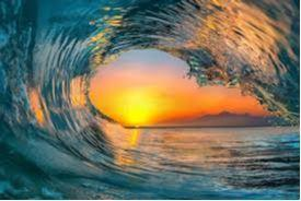 Wave with sunset