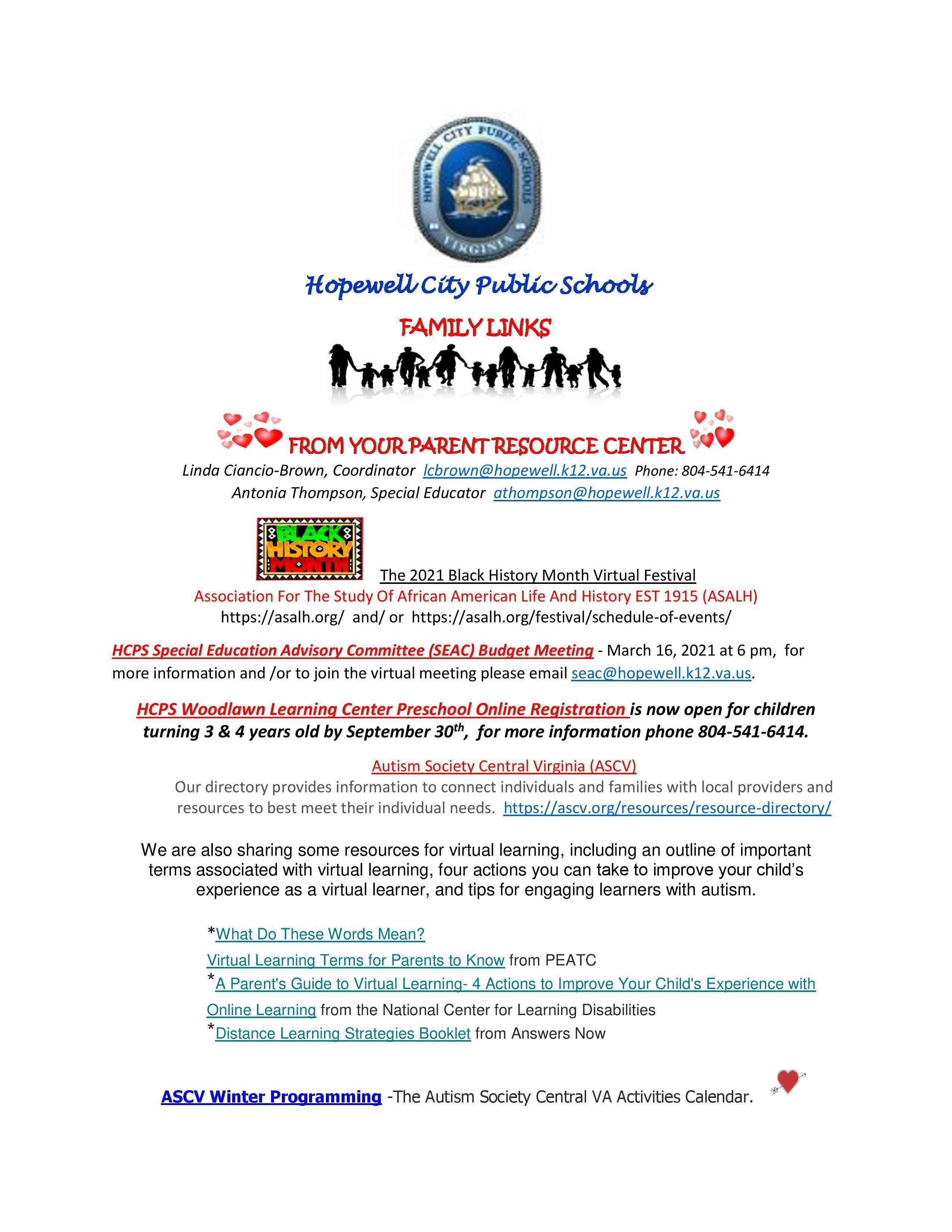 Information regarding links for Parent Resources