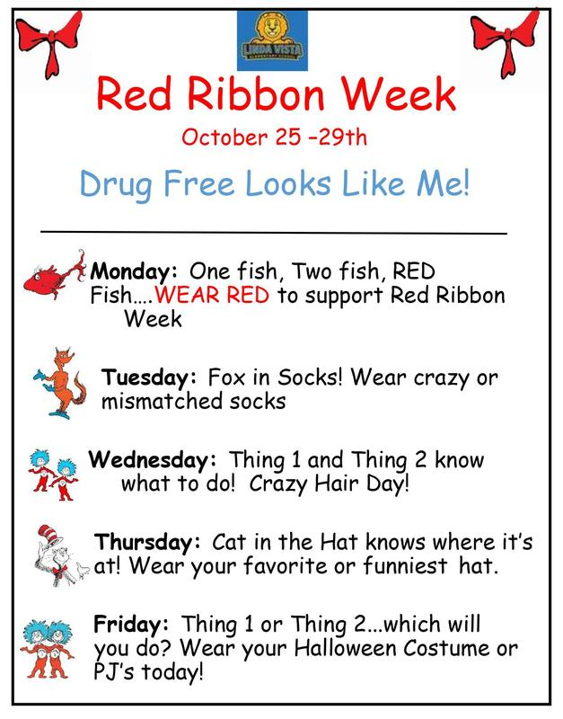Red Ribbon Week Activities & Events: October 25-29, 2021