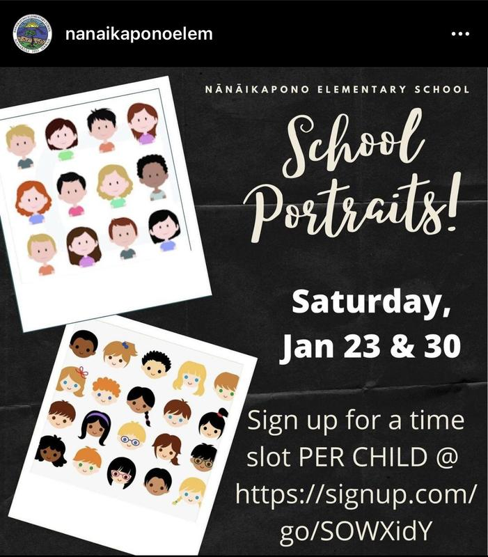 Poster for School Portraits.  Shows the signup link.  https://signup.com/go/SOWXidY