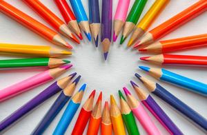 Colored pencils forming a heart