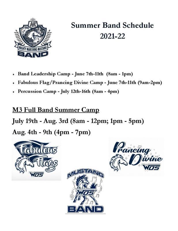Summer Band Schedule 2021-2022