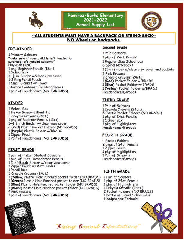 RBE School Supply List
