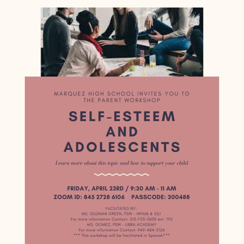 Parent workshop on Self-Esteem and Adolescents, Friday, April 23rd Thumbnail Image