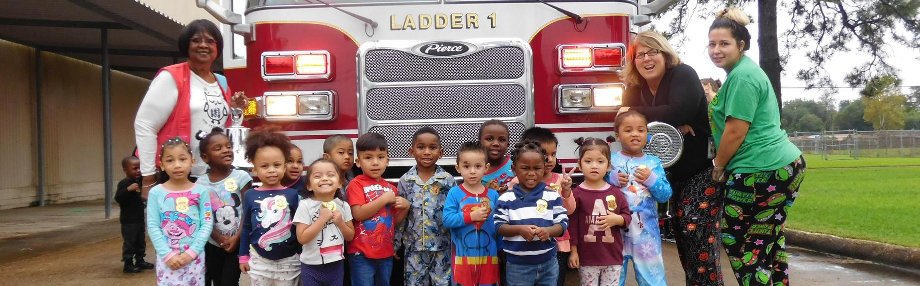 Firetruck Visits North on Pajama day