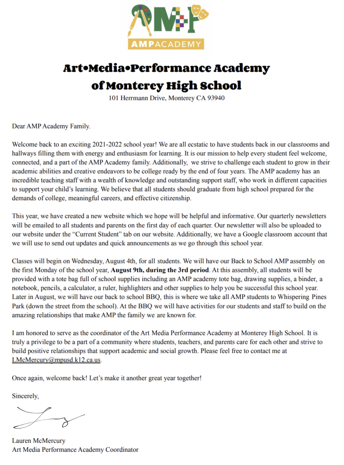 AMP Welcome Letter