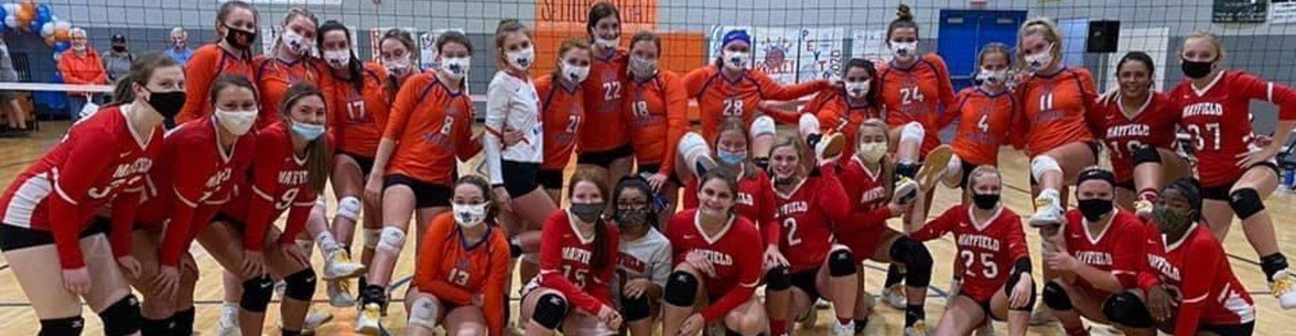 Lady Cards and Marshall County laced up with gold laces for Pediatric Cancer awareness and masked up to take the picture. #LadyCardinals #PrideandTradition