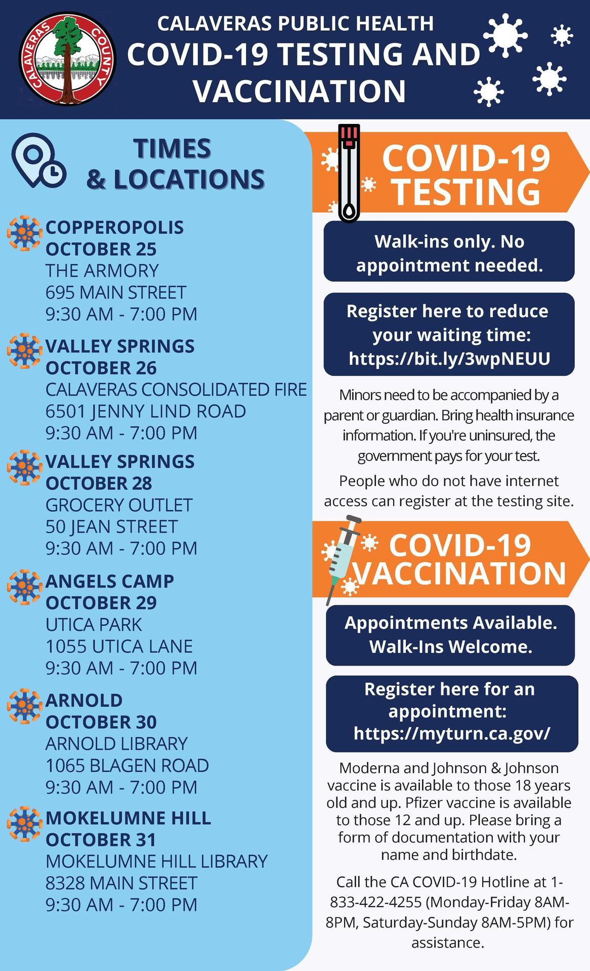 covid testing and vaccine info