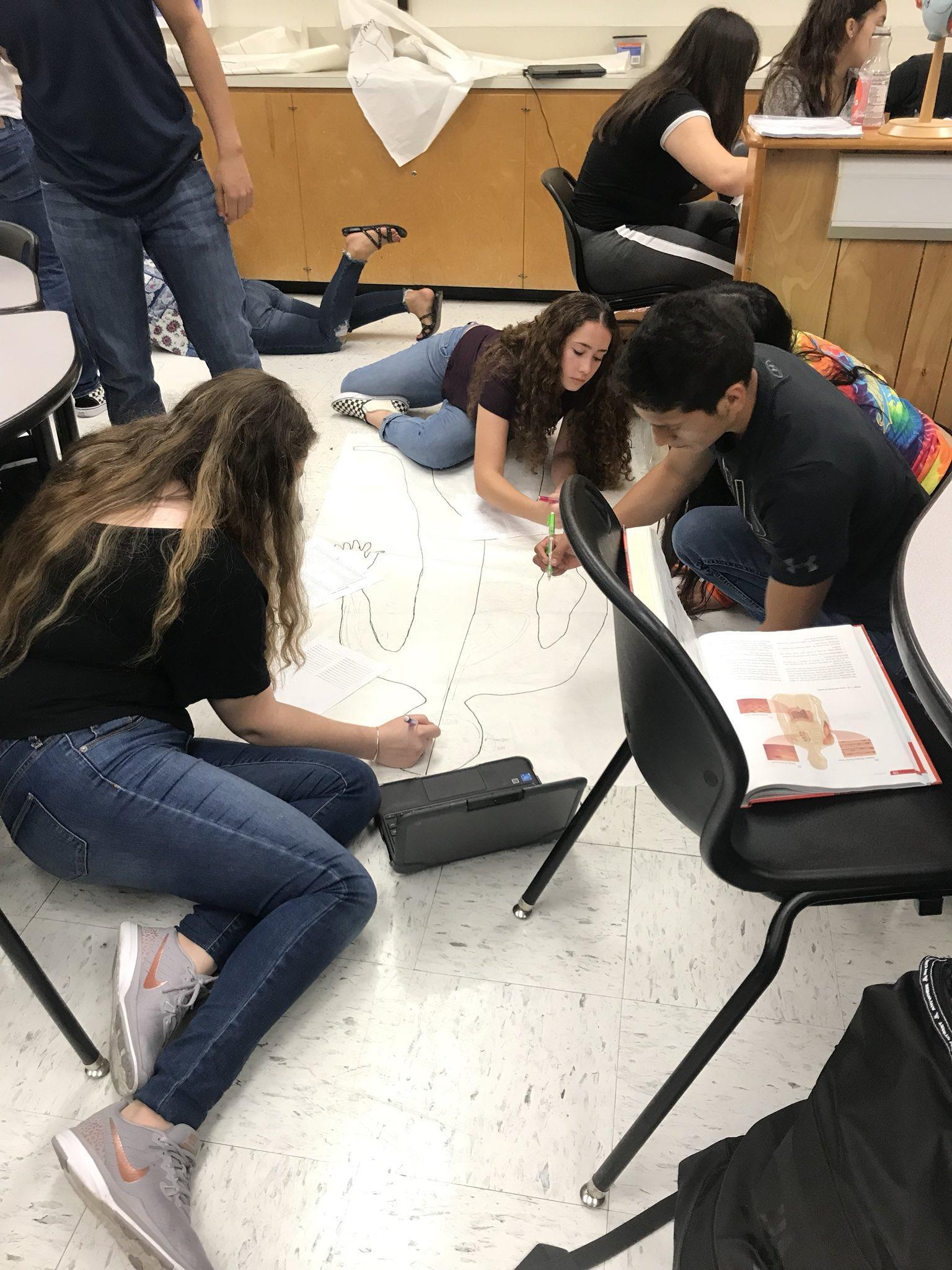 students drawing body on the floor