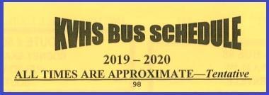 2019-2020 KVHS Bus Schedule Thumbnail Image