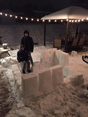 Students making igloo