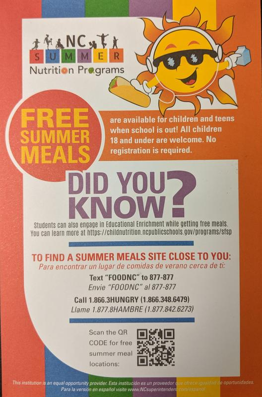 NC SUMMER NUTRITION PROGRAM