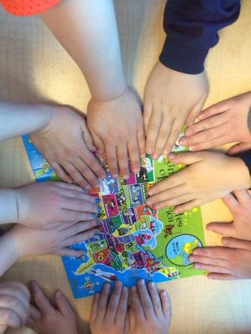 Students hands - working together