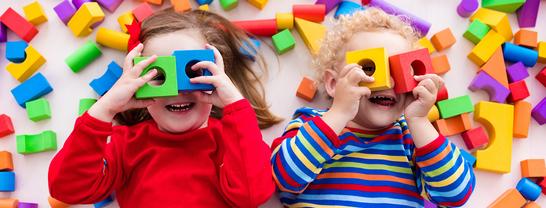 happy kids with blocks