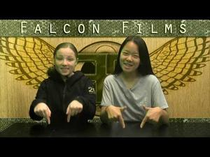 This is a screenshot of two Falcon Films students reading the morning announcements.