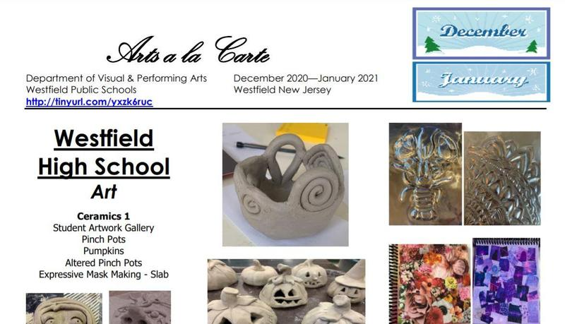Screenshot of front page of Arts a la Carte, an e-newsletter produced by the Visual and Performing Arts Department.