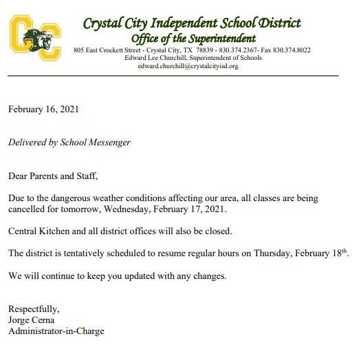 SCHOOL CLOSURE EXTENDED TO WEDNESDAY, 2-17-2021 Featured Photo