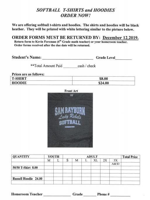 softball order form