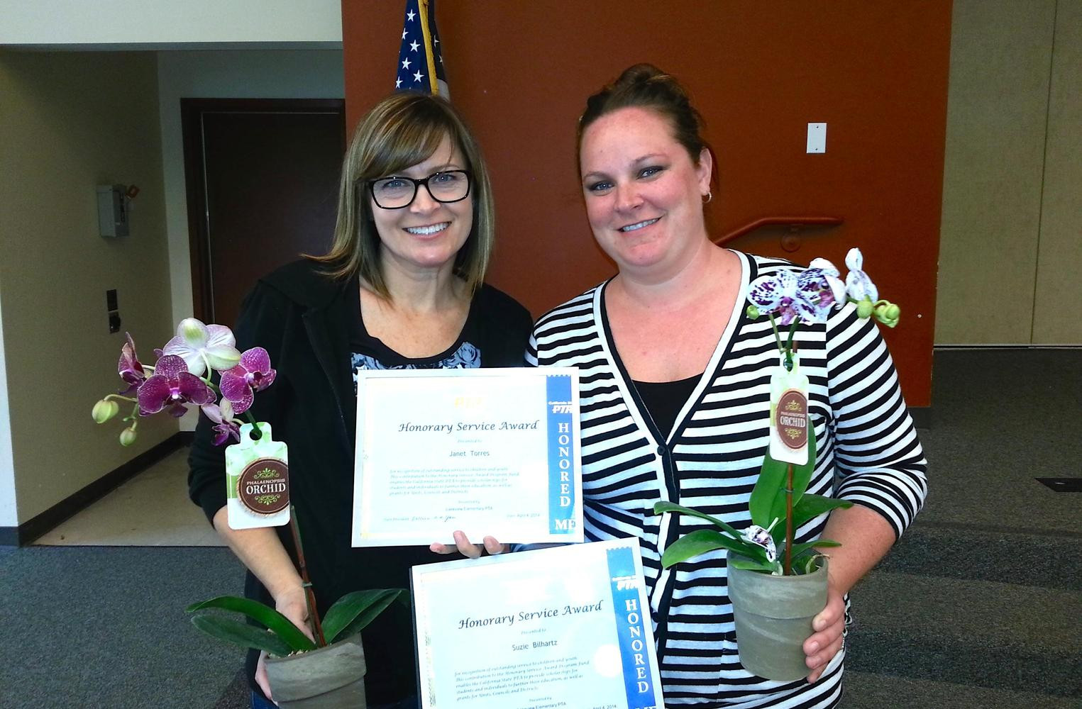 Mrs. Torres and Mrs. Bilhartz receiving PTA Honorary Service Awards