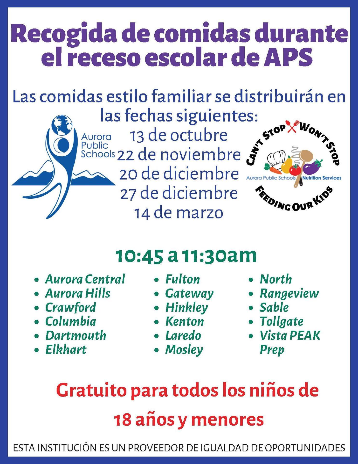 school break pick up sites-spanish