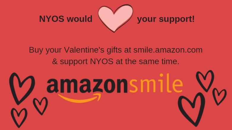 AmazonSmile Logo with hearts around the logo.