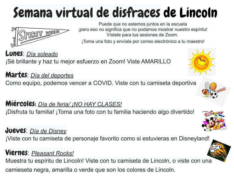 Semana virtual de disfraces de Lincoln