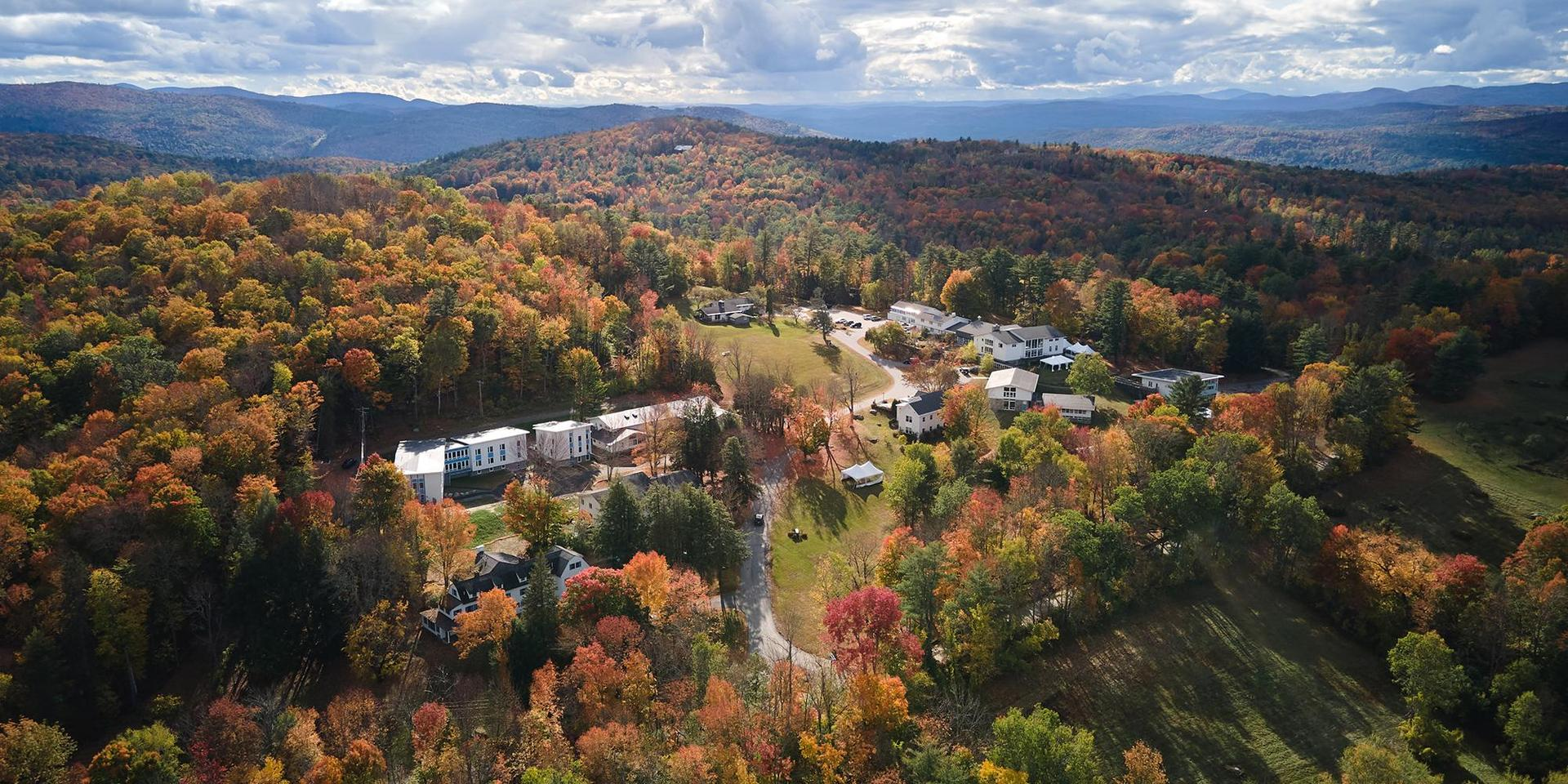 An aerial photo of the campus of The White Mountain School in the fall.