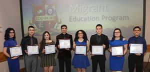 Edinburg CISD student with the Migrant Education Program pose for a photo during an Edinburg Rotary Club meeting at the Echo Hotel in Edinburg. Pictured L-R: Edinburg High School senior Grecia Denyz Trevino, Edinburg High School senior Raul Solis III, Edinburg North High School senior Jennifer Hernandez, Edinburg North High School senior Tommy Lee Salinas, Economedes High School senior Jasmine Lopez, Economedes High School senior Jason Cantu, Vela High School senior Thais Galvan and Vela High School senior Nathaniel Trevino.