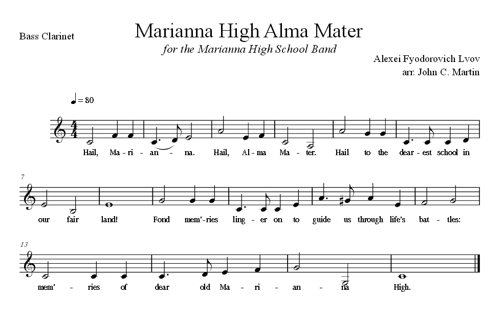 Sheet Music for Alma Mater for the Bass Clarinet